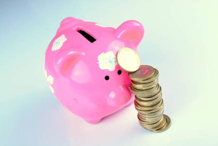 pink piggy bank with euro coins