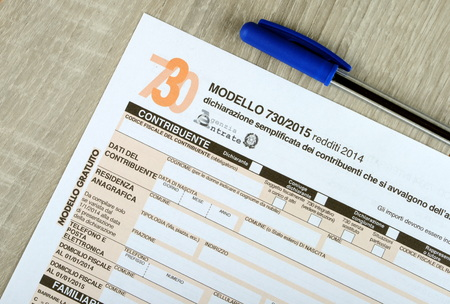 Italian 730 tax form, empty spaces. 2015 edition Stock Photo