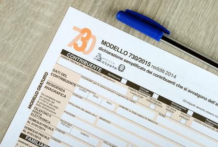 Modulo 730 fiscale italiano, gli spazi vuoti. Edizione 2015