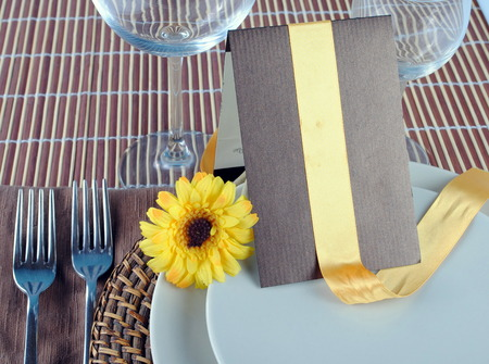 sample of wedding table set, soft shadows Stock Photo