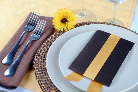 sample of wedding table set, soft shadows Stock Photo