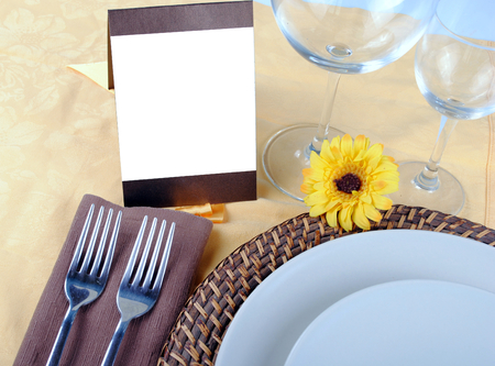 close up of wedding table set, space for your text on blank card Stock Photo