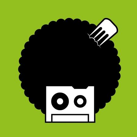 faccia da musicassetta con capelli afro anni ottanta Stock Vector - 16479809