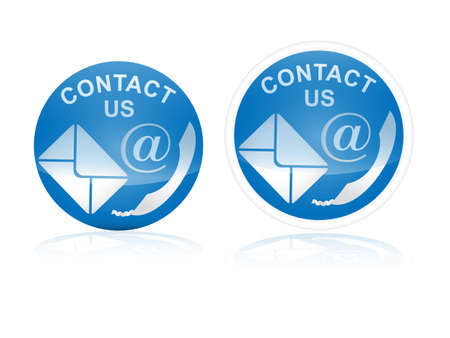 contact us icon with reflection effect on white background Illustration