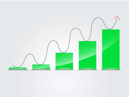 histogram: histogram and arrow, vector business chart Illustration