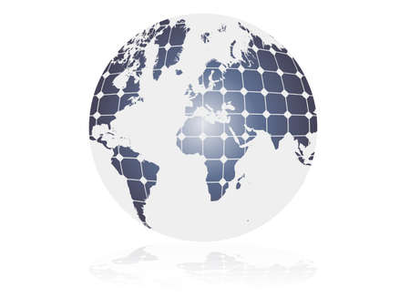 solar energy concept, clean energy symbol  a globe design with photovoltaic cells  Illustration