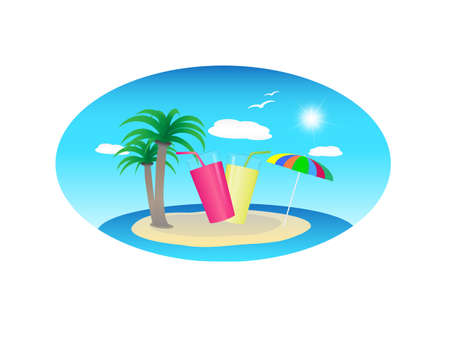 summer holiday vector design with a tropical island
