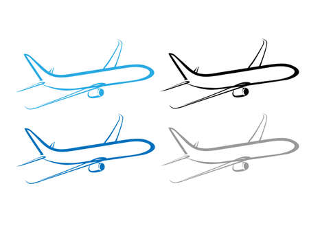 stylized airplane - flying airplane design Vector