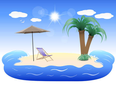 summer holidays, tropical island Illustration