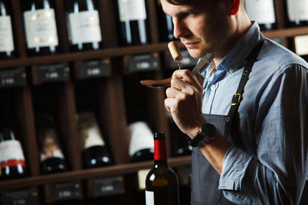 Sommelier smelling flavor of cork from red wine on background of shelves with bottles in cellar. Male appreciating quality of drink. Professional degustation expert in winemaking. 版權商用圖片