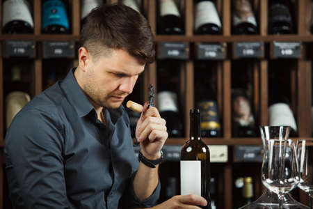Sommelier reading label emblem of wine bottle holding in hands and sniffing cork of newly opened container containing alcoholic beverage to analyze product quality, man and cellar on background 版權商用圖片