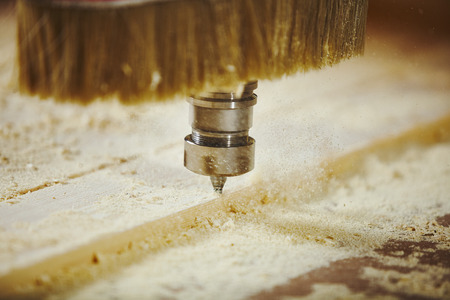Cutting wood using a machine with numerical control. Cnc tool. Stok Fotoğraf