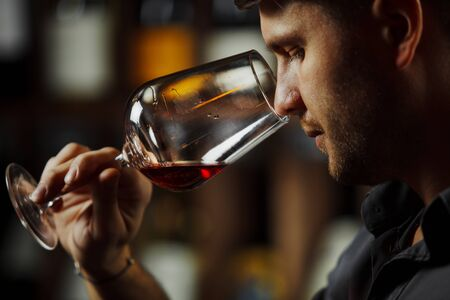 Sommelier smelling flavor of red wine in bokal on background of shelves with bottles in cellar. Male appreciating color, quality and sediments of drink. Professional degustation expert in winemaking. Stok Fotoğraf