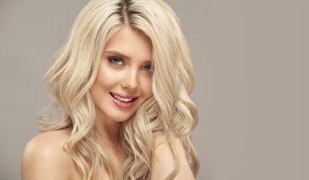 Blonde hair european woman with clean skin natural beauty female portrait