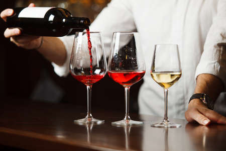 Sommelier pouring different types of fine wine Banque d'images