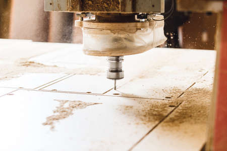 Machine working cnc, woodworking tool, computer numerical control. Stock Photo