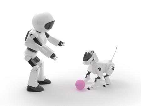 Robot speelt met een hond in de bal