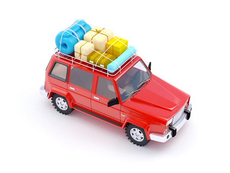 4wd: 3d red SUV adventure with roof rack Stock Photo