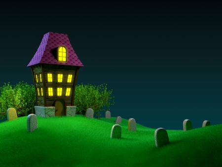 hilly: Haunted house on a hilly cemetery  Halloween 3D image