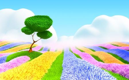 flower cartoon: Campo colorido de las flores, un �rbol y una bruma ligera Paisaje de fantas�a de dibujos animados 3D Foto de archivo