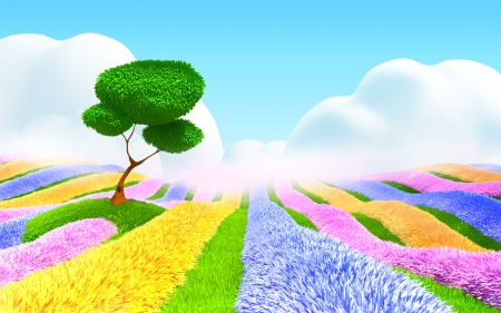 Colorful field of flowers, a tree and a light haze  Fantasy cartoon 3d landscape photo