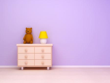 Nachtkastje met lamp en teddybeer Pastel kleuren, lege kamer
