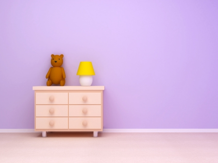 babyroom: Nightstand with lamp and teddy bear  Pastel colors, empty room