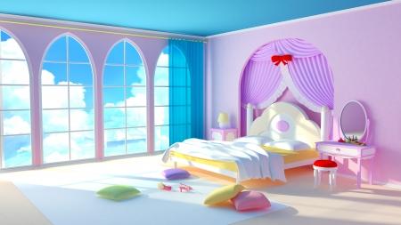 Sprookje Princess Room De roze slaapkamer meisje met kleurrijke kussens en grote ramen in de vensters van de cloud