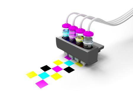 imprenta: Modelo CMYK Concepto de cartucho de impresora de tinta en botellas de vidrio sobre un fondo blanco