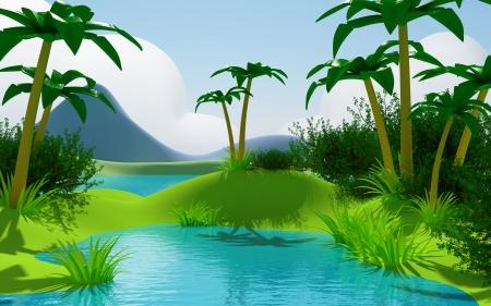 Cartoon 3d tropische jungle landschap met water en bergen Stockfoto