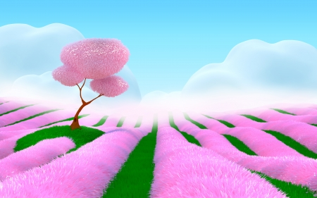 cartoon grass: Field with pink flowers, cherry tree on a hill, fog  Pink 3d fantasy landscape
