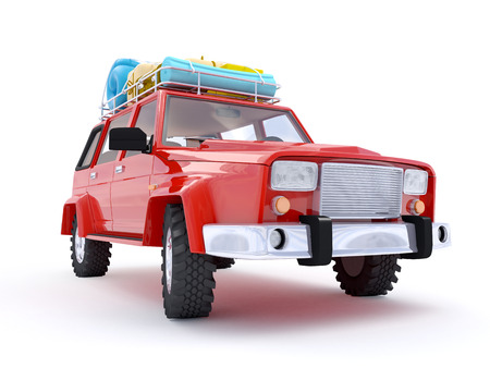suv: 3d red SUV adventure with roof rack Stock Photo