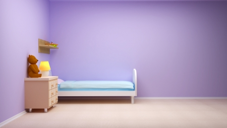 interior architecture: Baby s bedroom with commode and bear  Pastel colors, empty room