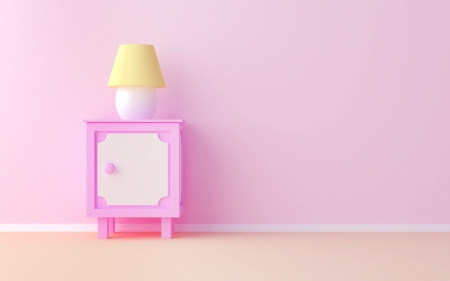 bedroom: The pink nightstand at the pink wall