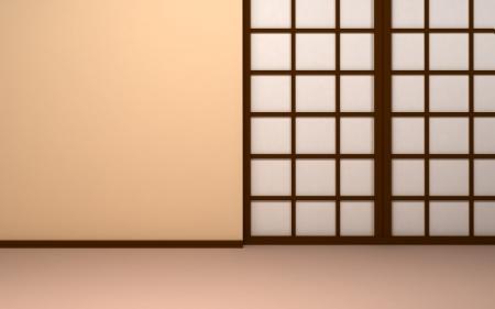 Fondo japonés vacía pared de color beige con puertas de placas japonés Shoji puertas Foto de archivo - 24058259
