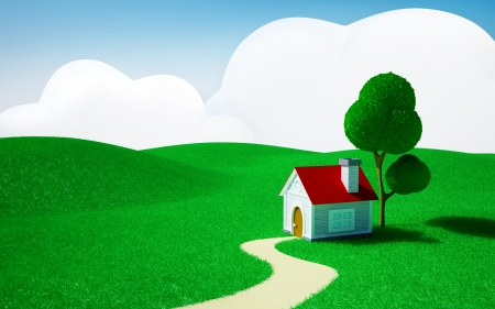 grass family: 3d cartoon landscape, a house on a green field, hills and blue sky with clouds
