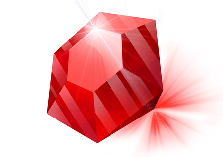ruby red: red ruby lies on a white background, it is refracted light, discarding light rays Stock Photo