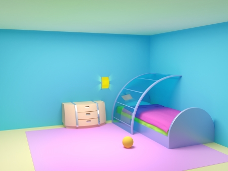 Futuristic child bedroom with metal furniture.  Empty room photo