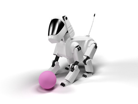 crouch: Robot dog from the white plastic play with pink ball on a white background Stock Photo