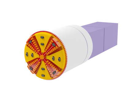 3d illustration of a tunnel boring machine on white background Stock Photo