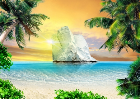 uneasiness: Tropical beach and big iceberg in the sea on horizon  Global warming