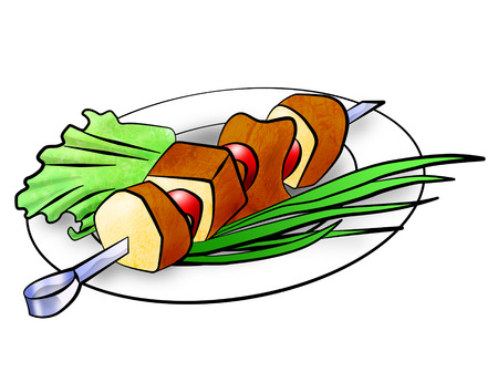 shish: Shish kebab on a plate, decorated with salad and green onions  An illustration