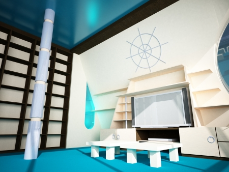 Futuristic inter in modern style of the penthouse  Penthouse with a window in the wall Stock Photo - 24140206