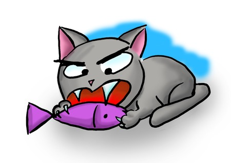 gnaw: hungry cat seize in fish and its gnaw Stock Photo