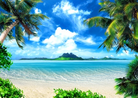 Tropical coast, beach with hang palm trees. View of the Sea, the island green and the sky with large clouds. Magical lighting.