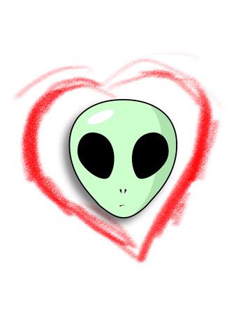 ojos negros: Cara del extranjero verde con la cabeza grande y ojos negros mayores, en el interior del coraz�n