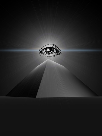Symbol of an all-seeing providence  The black truncated pyramid with a shone eye at top  photo