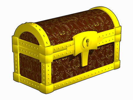 Antique closed chest, fettered by gold