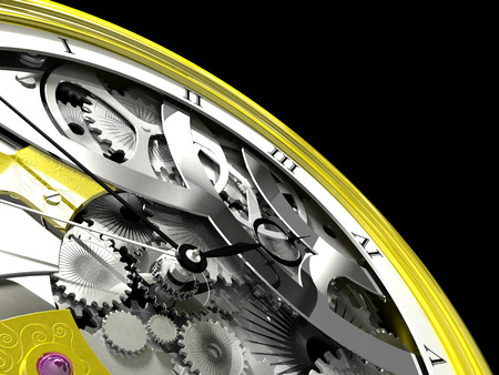 pocketwatch: Gold pocket watch on a black background