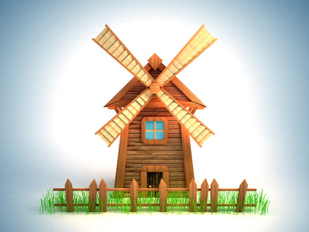 wind mills: Cartoon windmill with a sagging fence and grass  White